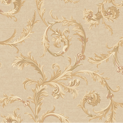 York Wallcoverings Regents Glen Linen and Neutrals Rococo Scroll Wallpaper: Sample Swatch Only