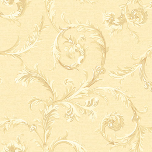 York Wallcoverings Regents Glen Deep Cream and Medium Cream and White Rococo Scroll Wallpaper: Sample Swatch Only