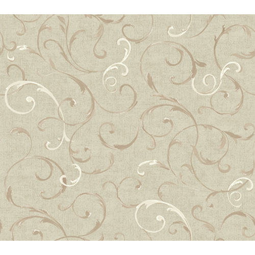 Wind River Watercolor Vines and Scrolls Wallpaper: Sample Swatch Only