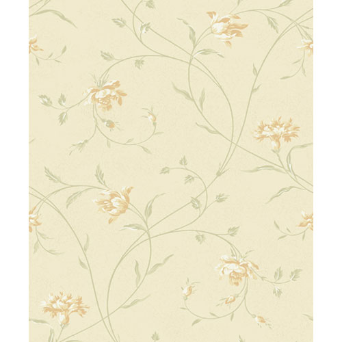Wind River Garden Flowers with Flowing Vines Wallpaper: Sample Swatch Only
