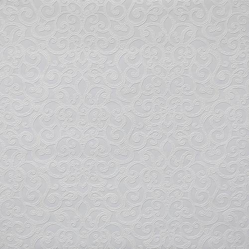 Flared Scroll Paintable White Wallpaper