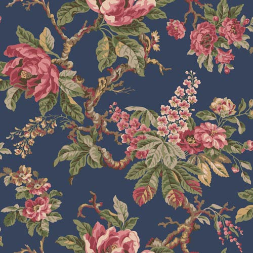 York Wallcoverings Legacy Vintage Garden Blue Wallpaper-SAMPLE SWATCH ONLY