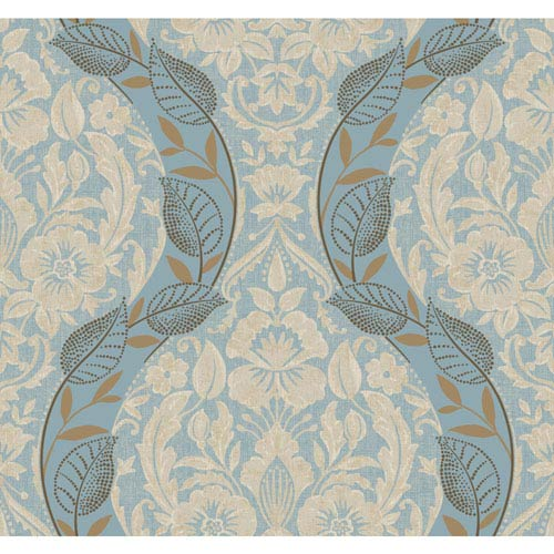 York Wallcoverings Legacy Dreamest Blue Wallpaper-SAMPLE SWATCH ONLY