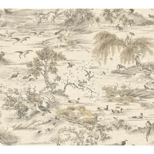 Legacy Fragrant Garden Scenic White and Off White Wallpaper-SAMPLE SWATCH ONLY