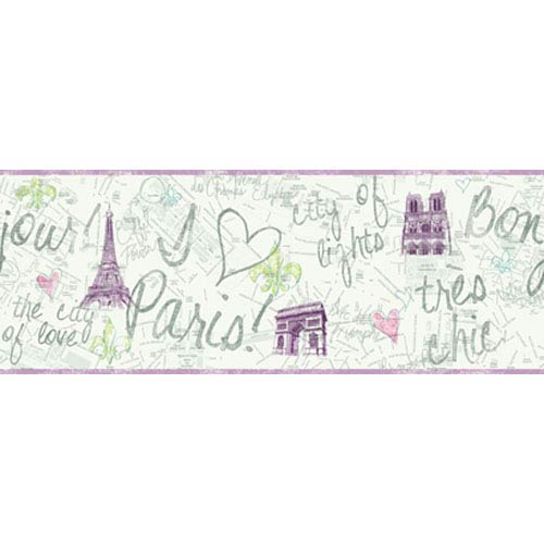 York Wallcoverings Girl Power White Background and Purple and Green 2 Paris Border: Sample Swatch Only