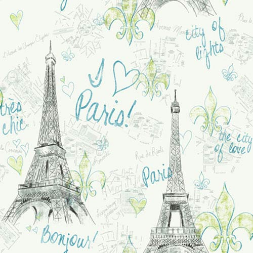 York Wallcoverings Girl Power White Background and Black and Teal 2 Paris Wallpaper: Sample Swatch Only