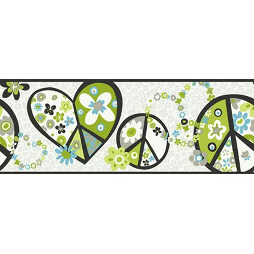 York Wallcoverings Girl Power White Background and Black Band and Green 2 Peace Sign Border