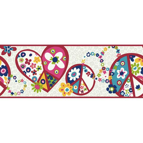 York Wallcoverings Girl Power White Background and Hot Pink Band 2 Peace Sign Border: Sample Swatch Only