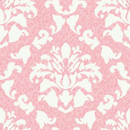 York Wallcoverings Girl Power Pink and White 2 Damask With Skins Wallpaper: Sample Swatch Only