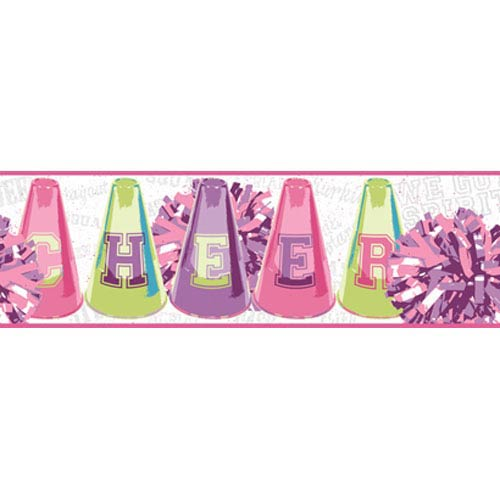 York Wallcoverings Girl Power Pink and Purple 2 Cheer Border: Sample Swatch Only