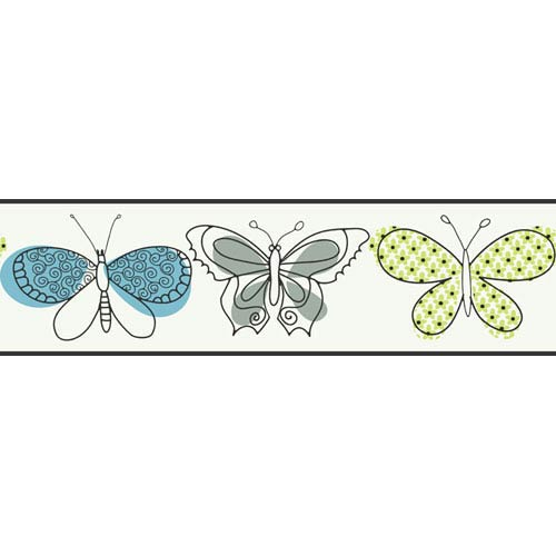 York Wallcoverings Girl Power White and Blue and Lime 2 Butterfly Border: Sample Swatch Only
