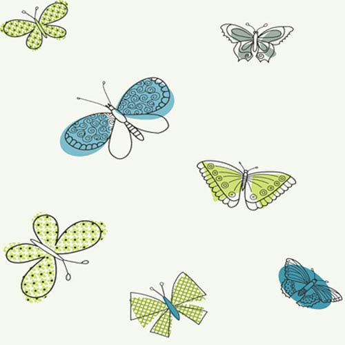 York Wallcoverings Girl Power White and Multi 2 Butterflies Wallpaper: Sample Swatch Only