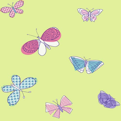 York Wallcoverings Girl Power Lime and Multi 2 Butterflies Wallpaper: Sample Swatch Only
