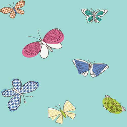 York Wallcoverings Girl Power Teal and Multi 2 Butterflies Wallpaper: Sample Swatch Only