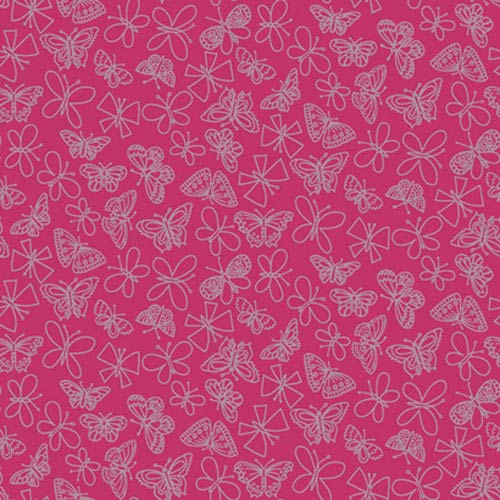 York Wallcoverings Girl Power Hot Pink 2 Glitter Butterfly Wallpaper: Sample Swatch Only