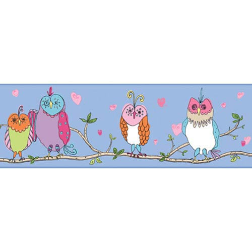 York Wallcoverings Girl Power Bright Blue and Multi 2 Owl Border: Sample Swatch Only