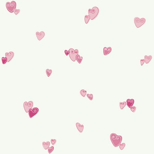 York Wallcoverings Girl Power White and Pink 2 Heart Wallpaper: Sample Swatch Only