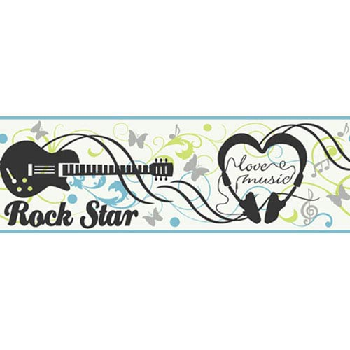 York Wallcoverings Girl Power White Background and Light Blue Band and Black and Lime 2 Rock N Roll Border: Sample Swatch