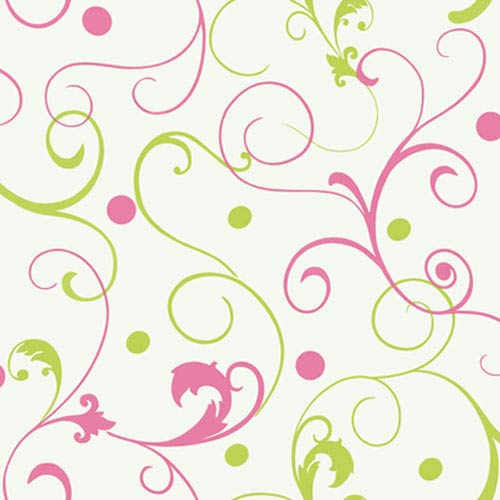 York Wallcoverings Girl Power White Background and Pink and Lime 2 Scroll With Dots Wallpaper: Sample Swatch Only
