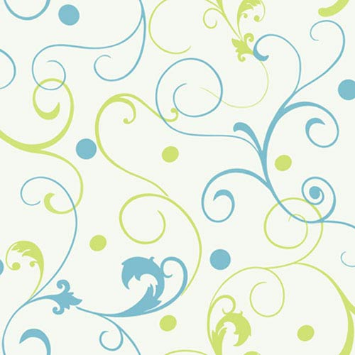 York Wallcoverings Girl Power White Background and Bright Blue and Lime 2 Scroll With Dots Wallpaper: Sample Swatch Only