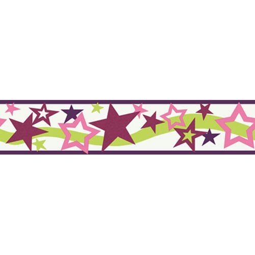 York Wallcoverings Girl Power White Background and Plum and Pinks and Lime 2 Star Border: Sample Swatch Only