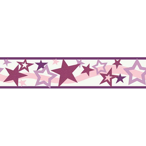 York Wallcoverings Girl Power White Background and Purple and Pink 2 Star Border: Sample Swatch Only