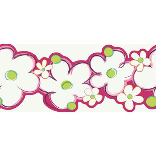 York Wallcoverings Girl Power White Background and Pink and Lime and Teal 2 Daisy Border: Sample Swatch Only
