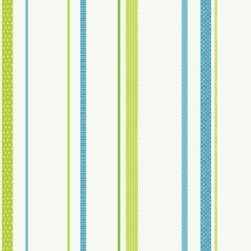 York Wallcoverings Girl Power White Background and Lime and Blues 2 Ribbon Stripe Wallpaper: Sample Swatch Only