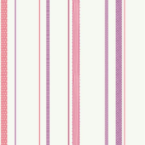 York Wallcoverings Girl Power White Background and Pinks and Lilac 2 Ribbon Stripe Wallpaper: Sample Swatch Only