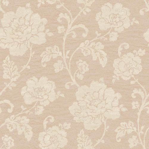York Wallcoverings Vintage Patina Blush Pink, Cream and Pecan Shell Brown Floral Trail Wallpaper: Sample Swatch Only