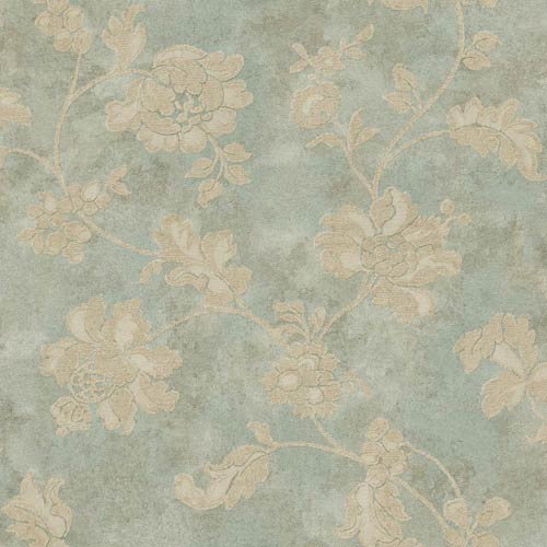 York Wallcoverings Vintage Patina Aqua, Beige and Eggshell Wallpaper: Sample Swatch Only