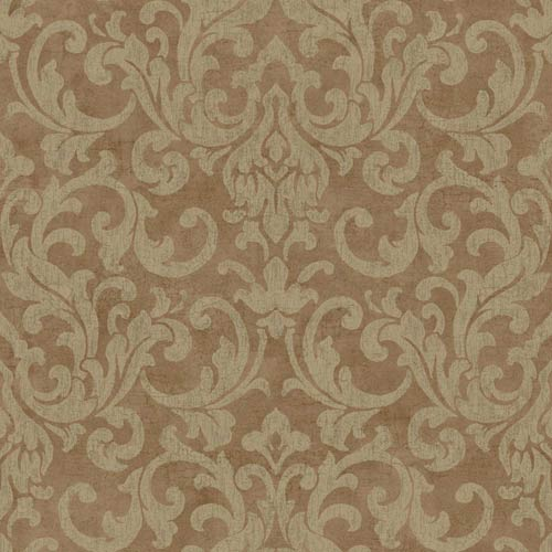 York Wallcoverings Vintage Patina Mushroom Brown and Chocolate Crackle Wallpaper: Sample Swatch Only