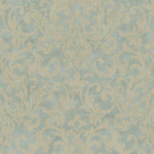 York Wallcoverings Vintage Patina Aquamarine, Mushroom Tan and Tobacco Brown Crackle Wallpaper: Sample Swatch Only