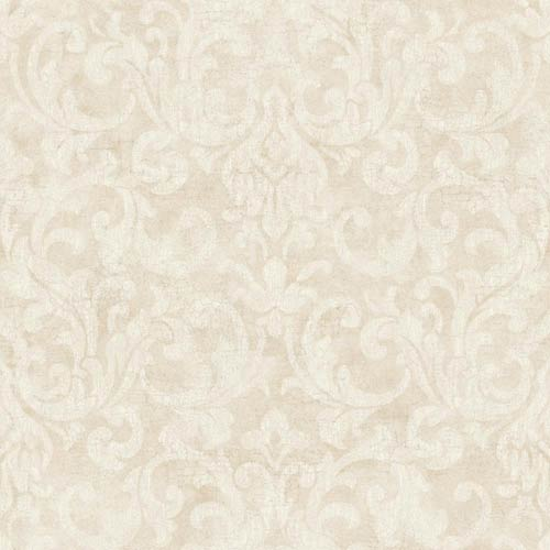 York Wallcoverings Vintage Patina Ecru, Eggshell and Graphic Grey Crackle Wallpaper: Sample Swatch Only