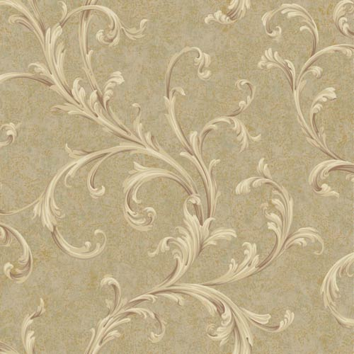 York Wallcoverings Vintage Patina Beige, Tan, Brown, Grey and Russet Scroll Wallpaper: Sample Swatch Only