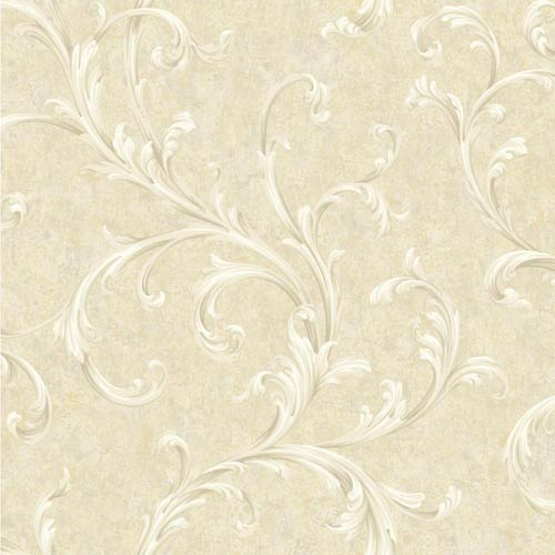 York Wallcoverings Vintage Patina Beige, Grey, Taupe, White and Peach Scroll Wallpaper: Sample Swatch Only