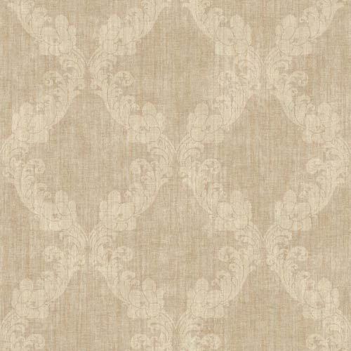 York Wallcoverings Vintage Patina Muted Gold and Cocoa Wallpaper: Sample Swatch Only