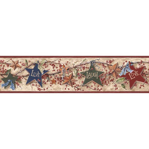 York Wallcoverings Inspired by Color Tan and Burgundy Star Berry Border Wallpaper