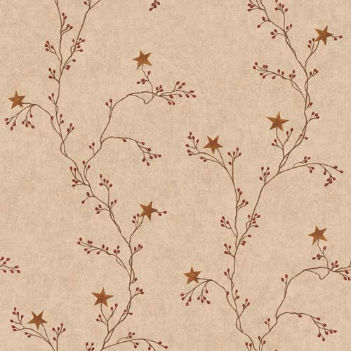 Inspired by Color Khaki Star Berry Vine Wallpaper