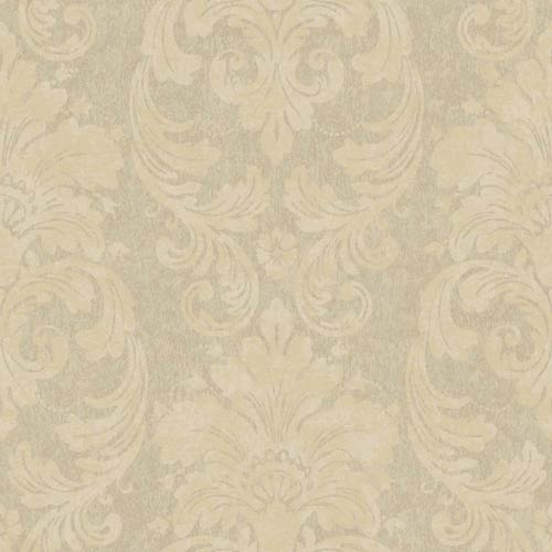 York Wallcoverings Fresco Warm Brown, Metallic Gold and Blush Velvet Damask Wallpaper: Sample Swatch Only
