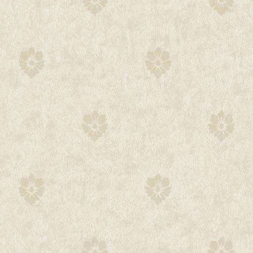 York Wallcoverings Fresco Gray, Beige and Metallic Gold Velvet Floral Spot Wallpaper: Sample Swatch Only