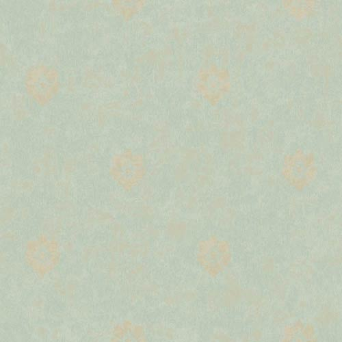 York Wallcoverings Fresco Moss Green, Pearlescent Tan and Matte Tan Velvet Floral Spot Wallpaper: Sample Swatch Only