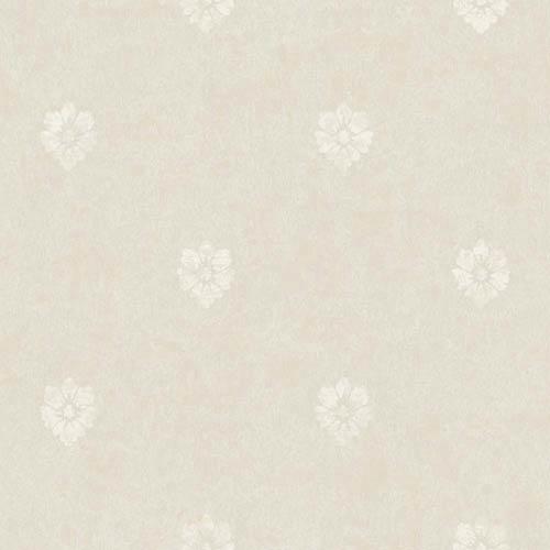York Wallcoverings Fresco Iridescent Gold, Soft Gray and Chalk White Velvet Floral Spot Wallpaper: Sample Swatch Only