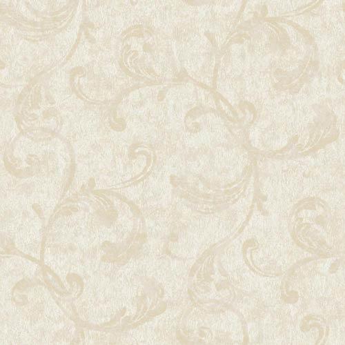 Fresco Gray, Beige and Metallic Gold Velvet Scroll Wallpaper: Sample Swatch Only