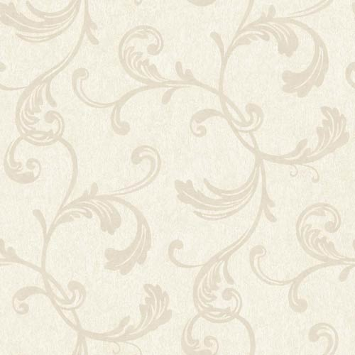 Fresco Silvery Sand and Matte Beige Velvet Scroll Wallpaper: Sample Swatch Only