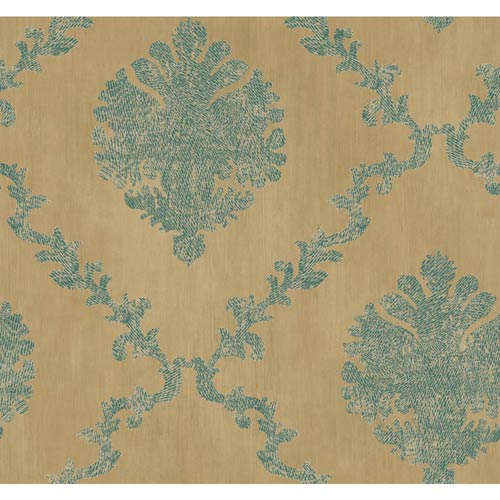 York Wallcoverings Fresco Gold, Teal and Butter Cream Textured Frame Motif Wallpaper: Sample Swatch Only