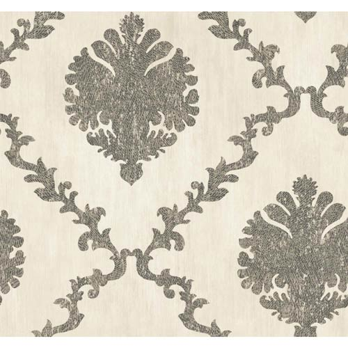 Fresco Silver Beige, Charcoal Gray and Eggshell Textured Frame Motif Wallpaper: Sample Swatch Only