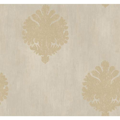 York Wallcoverings Fresco Silver, Khaki and Gray Textured Motif Wallpaper: Sample Swatch Only