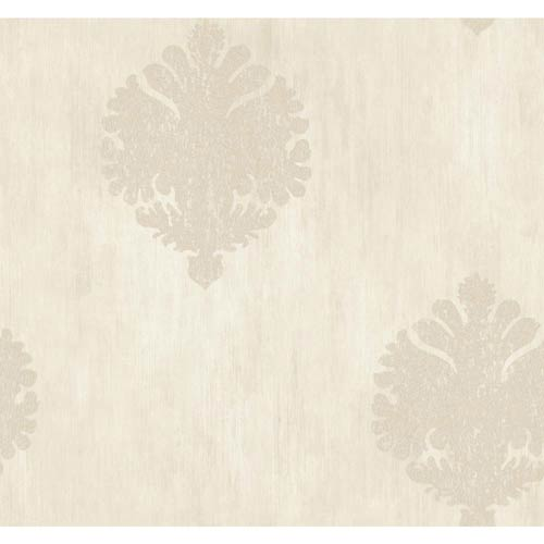 York Wallcoverings Fresco Beige Pearl, Butter Cream and Tan Textured Motif Wallpaper: Sample Swatch Only