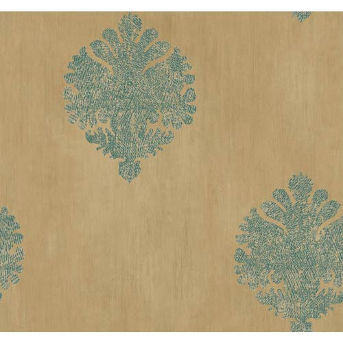 York Wallcoverings Fresco Gold, Teal and Butter Cream Textured Motif Wallpaper: Sample Swatch Only